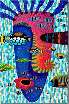 """▞▞▞ Wandbild """"Underwater Odyssey"""". Hauptmotive des Bildes auf Leinwand: Ozean, Fisch, Gesicht, abstrakt, bunt. Perfekt Deko für alle Liebhaber der unkonventionellen Dekorationen ▞▞▞"""