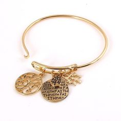 Bangle Charm Bracelet - Faith Gold