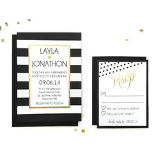 Black and white stripes with gold foil wedding invitation - elegant wedding - black white gold wedding - gold foil wedding Space Wedding, Wedding Seating, Wedding Table, Elegant Wedding Invitations, Wedding Themes, Wedding Stationery, Wedding Black, Wedding Gold, Wedding Day