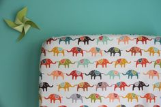 fitted crib sheet in colorful elephants by iviebaby on Etsy
