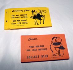 Monopoly Chance and Community Chest Cards/Replacement Pieces Vintage 1985  #ParkerBrothers