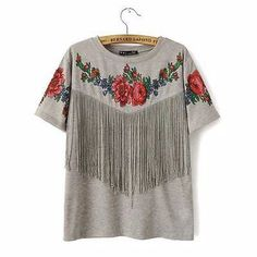 - Lovely grey summer floral tassel casual t-shirt for the stylish fashionista - Modern design offers a cool stylish look - Great for the workplace or casual outings - Made from high quality material