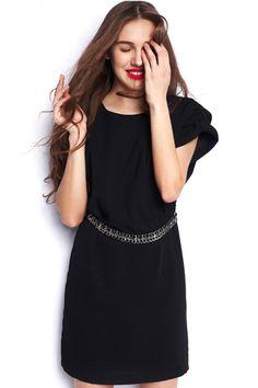 #Romwe Metal Belted Black Dress