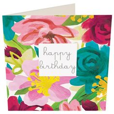 happy birthday painted floral greeting card