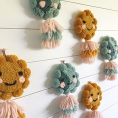 One of the things I love about tufting is how they all end up having their own little personalities these sweeties will be in the shop update this Thursday! Pom Pom Crafts, Yarn Crafts, Embroidery Art, Embroidery Patterns, Julie Robert, Punch Needle Patterns, Punch Art, Rug Hooking, Diy Crafts To Sell