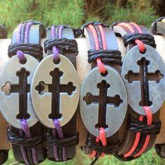 Leather cross tag Bracelet