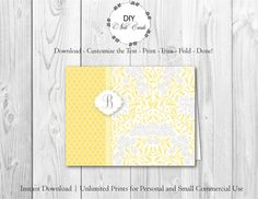 Chic Lemon Floral - DIY Printable Monogram Note Card Template - Add Text, Print, Trim, Fold, Done! Unlimited Personal Prints. MCS.0092 by DIYNotecards on Etsy