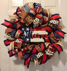 Fourth of July wreath of July wreath patriotic wreath Patriotic Wreath, Patriotic Crafts, Patriotic Decorations, July Crafts, 4th Of July Wreath, Christmas Decorations, Patriotic Party, Birthday Decorations, Christmas Mesh Wreaths