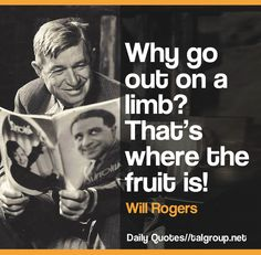 Career Lesson: Why go out on a limb? That's where the fruit is! #Quote #Leadership #Business #Tech