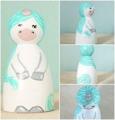Worry doll Unicorn Fret Me Not Wooden peg doll by PeggiesPegDolls