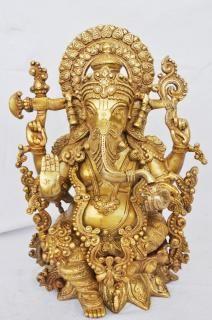 Brass metal designer  unique lord Ganesha statue by ashopiindia