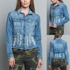 Women's Washed Pearl Distressed Jean Denim Jacket - Ck Jeans, Love Jeans, Denim Jeans, Popular Mens Jeans, Denim Button Up, Button Up Shirts, Types Of Jackets, Denim Jacket Men, Denim Branding