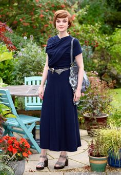 Fake Fabulous   Navy Finery Midi-dress, grey and taupe accessories & Chunky Vagabond sandals.