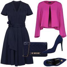 05f76e03a4f7 Metti un vestito blu  outfit donna Chic per cerimonia