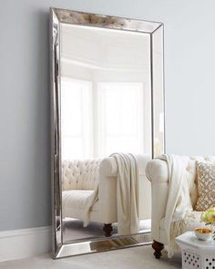 Shop Antiqued-Silver Beaded Floor Mirror at Horchow, where you'll find new lower shipping on hundreds of home furnishings and gifts. Big Floor Mirrors, Big Mirror In Bedroom, Antique Floor Mirror, Oversized Floor Mirror, Living Room Mirrors, Large Mirror Decor, Large Leaning Mirror, Silver Floor Mirror, Leaning Floor Mirror