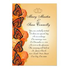 Wedding Invitation Monarch Butterflies Butterfly Wedding Theme, Butterfly Wedding Invitations, Formal Wedding Invitations, Butterfly Party, Elegant Wedding Invitations, Custom Invitations, Invitation Cards, Invites, Monarch Butterfly Images