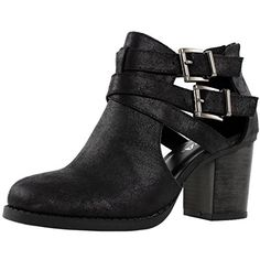 Soda Womens Scribe Ankle Bootie With Low Heel And Cut-Out Side Design Boots,Black Pu,7.5 $21.02