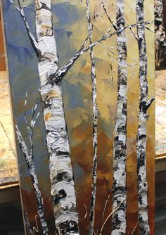 Original Birch Tree Painting Abstract Acrylic Textured Artwork