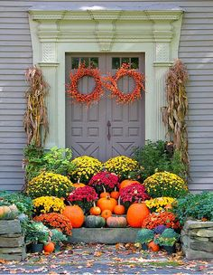 Lovely fall decorations and... they keep away unwanted guests who don't know the path to your back door: )