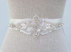 Bridal Belt - Crystal Beaded Rhinestone Bridal Sash - Marisol $165.00 USD