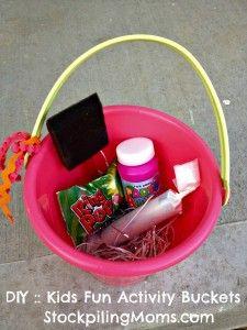 #DIY :: Kids Fun Activity Buckets  http://www.stockpilingmoms.com/2012/06/diy-kids-fun-activity-buckets/