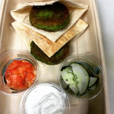 Lunch for the kiddos...Pea and mint falafel with whole wheat pita, cucumber, tomato, and tzatziki sauce. Everything is all scratch made and all organic! You can order delicious lunches like this for your kids to take back to school on the website! #delicious #mealdelivery #firstspoonful #organic #losangeles #realfood #wholefood #healthyliving #healthy #healthykidsfood #healthytoddlersfood #backtoschool