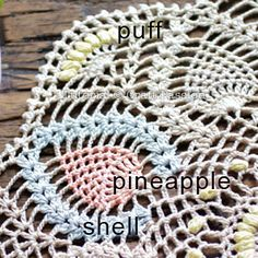 Written & chart pattern to crochet this beautiful puff stitch Pineapple Doily. Puff stitch design gives the pineapple doily an exquisite texture. Free Crochet Doily Patterns, Crochet Doily Diagram, Free Pattern, Knitting Patterns, Thread Crochet, Crochet Yarn, Crochet Coaster, Crochet Table Runner Pattern, Crochet Dreamcatcher