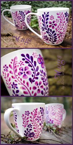 C Steele Collection Porcelain China - Porcelain Vase Decoration - Vase ideen Painted Coffee Mugs, Hand Painted Mugs, Hand Painted Ceramics, Coffee Cup Sharpie, Sharpie Mugs, Hand Painted Pottery, Painted Cups, Sharpies, Pottery Painting Ideas Easy