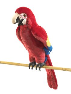 Parrot lovers will caw over this handsomely colored SCARLET MACAW puppet. Easier to teach than the real thing, his vocabulary can be polite or as bold as his colors! Hand enters from under the tail to