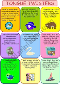 tongue twisters - English ESL Worksheets for distance learning and physical classrooms English Games, English Activities, English Writing, Teaching English, Public Speaking Activities, English Lessons, Learn English, English English, English Lesson Plans