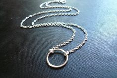 Tiny Silver Circle Necklace  Smooth in Sterling by roundabout, $25.00