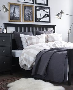 For a farmhouse bedroom vibe, swap in an IKEA EMMIE RUTA duvet cover and pillowcases! Yarn-dyed fabric gives the bedlinens a soft feel and decorative ribbons keep your comforter in place.