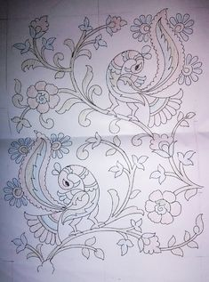 Peacock Embroidery Designs, Hand Embroidery Design Patterns, Embroidery Flowers Pattern, Hand Work Embroidery, Flower Patterns, Madhubani Art, Madhubani Painting, Peacock Painting, Fabric Painting
