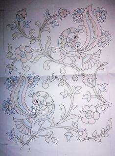 Peacock Embroidery Designs, Hand Embroidery Design Patterns, Hand Work Embroidery, Embroidery Motifs, Saree Painting, Kalamkari Painting, Kerala Mural Painting, Fabric Painting, Madhubani Paintings Peacock