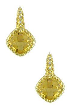 10K Yellow Gold Cushion Citrine & Diamond Earrings