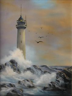 lighthouse by joni mcpherson art ocean sea Farol por Joni Mcpherson – Lighthouse Painting, Lighthouse Storm, Lighthouse Pictures, Pictures To Paint, Beach Art, Painting Inspiration, Landscape Paintings, Watercolor Paintings, Ocean Paintings