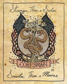 "Navy Corpsman Tattoos | US Navy Corpsman Tattoo Print ""Stronger than a Sailor, Smarter than a ..."