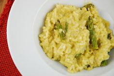 Definate Keeper!  This was good. Asparagus Goat Cheese Risotto Recipe - 6 Points + - LaaLoosh  Might try shallot instead of onion for more flavore and serve with rotisserie chicken (white meat for me of course).