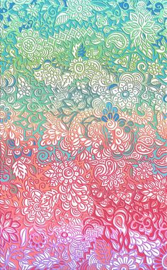 Soft Pastel Rainbow Doodle Art Print by Micklyn