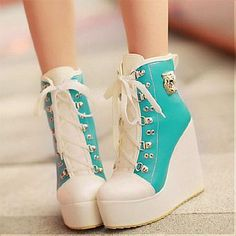 [32.78] New Styles PU Chalaza Lacing Blue Round Closed Toe Wedges Super High Heel Boots #shopsimple