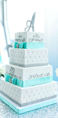 Tiffany Blue and Silver Wedding Cake