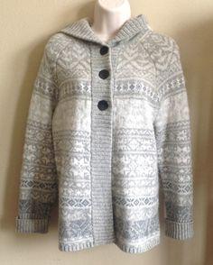 EDDIE BAUER Women's Medium Lamb's Wool Button Up Cardigan Sweater Jacket Hoodie