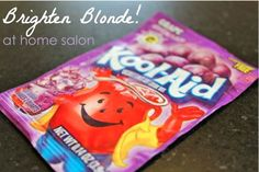 Blondes do have more fun. You can add grape koolaid to your shampoo or conditioner for a brighter hair color. For an all-over boost: Add 1/4 tablespoon purple Kool-Aid powder to 4 Tablespoons of shampoo. This is a ton of shampoo – way more than I'm guessing you usually use – so enjoy a big ol' lather. Rinse thoroughly. And rinse the tub too to make sure no purple remains. For highlight help: Mix 1 tablespoon with 1/2 cup conditioner. Coat your hair and let it sit for 5 minutes. Rinse th...