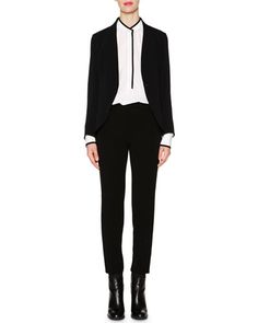 Piazza Sempione Shawl-Collar Cady Jacket, Contrast-Trimmed Tuck-Pleated Blouse & Monia Slim-Fit Ankle Pants