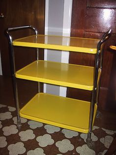 ~~ Vintage Cosco Retro 3 Tiered Yellow Metal Kitchen Utility Rolling Cart