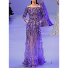 Long sleeve gown ❤ liked on Polyvore featuring dresses, gowns, longsleeve dress, purple evening gowns, long sleeve gowns, purple evening dress and purple ball gowns