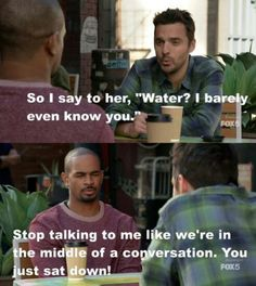 """NewGirl """"Par - Nick and Coach New Girl Memes, Girl Humor, New Girl Tv Show, Adventure Quotes, Adventure Time, Jessica Day, Nick Miller, Funny Scenes, Wedding Quotes"""