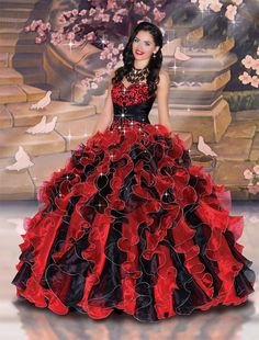 MZ0674 Ball Gown Sweetheart Beaded Black and Red Organza Ruffled Masquerade Quinceanera Dresses  $182.69