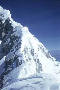 The Summit ridge of Everest (showing the Hillary step). When this picture was taken by Edmund Hillary on May 29, 1953, four men had seen the ridge, but none had ever set foot on it.