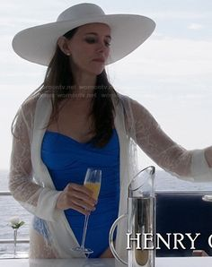 Victoria's blue swimsuit and lace cover-up on Revenge.  Outfit Details: http://wornontv.net/20110/ #Revenge
